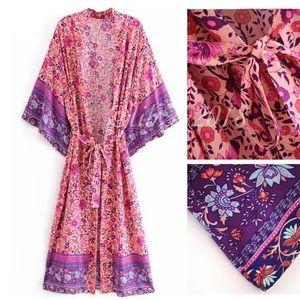 Floral Boho Kimono NEW Pink Purple